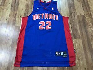 MENS LARGE - Vtg NBA Detroit Pistons #22 Tayshaun Prince adidas Sewn Jersey