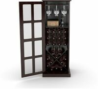 Wine Cabinet 24 Bottle Glass Storage Rack Wood Shelf Home Bar Liquor Kitchen New