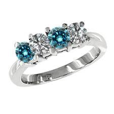 Diamond Solitaire Wedding Ring 14K White Gold 0.25 Carat Blue Si2 4 Stone Round
