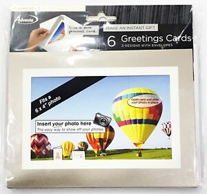 Adventa Pack of 6 Greeting Cards - Frame Photo Cards with Envelopes 50052