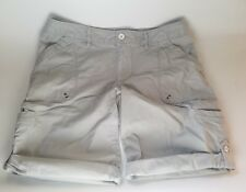 Eddie Bauer women's size 8 gray roll up tab shorts casual