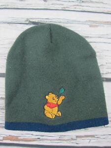 Disney Winnie The Pooh 100% Acrylic Kids 3 - 7 Green Blue Fitted Beanie Hat Cap