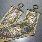 """Corona Decor Co. Vintage Wall Tapestry Hanging Bell Pull Brass Accents 53"""""""