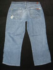 7 for all Mankind Jeans Womens Crop Boy Cut Distressed Jamaica Wash Sz 29