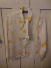 Vintage Womens Personal Petites Polyester Blouse White and Yellow Tie Collar