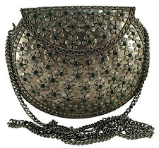 NK Fashion Woman Indian Flower Studded Metal Clutch Purse Sling bag Silver Green