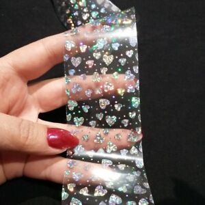 HOLOGRAPHIC SILVER HEART Nail Art Foil Transfer Glitter Stickers 3D Nails Foils
