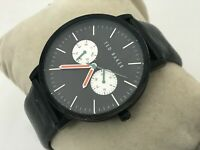 Ted Baker Men watch Black Genuine Leather Band 30M water resistant Multi Functio