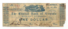 1862 The Central Bank of Virginia, Staunton - $1 Note on Recycled Paper No.392