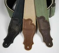 Franklin Strap - Distressed Canvas Guitar Strap - Leather End Tab