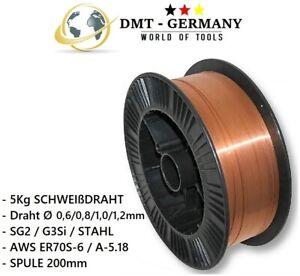 MIG//MAG Schweißdraht Ø 1,0mm G3Si1 SG2 5 kg D205 Kunststoffspule 5 Stück