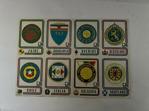 Très rare 16 Stickers / vignettes Panini München 74 les écussons 100 % originale