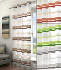 FIFE STRIPED VOILE CURTAIN PANEL EYELET RINGTOP HEADER Brown Green Silver Orange