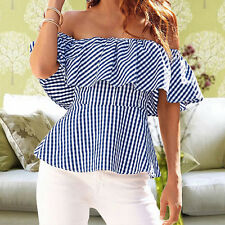 Women Striped Off Shoulder T-Shirt Ruffled Sleeve Casual Loose Blouse Tops Top