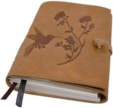 Handmade Leather Journal Bird Flower Engraved Notebook Bound Writing Diary Book