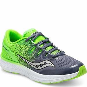 Saucony Kids Freedom ISO Running Shoes, Grey/Slime, 3.5 M US Big Kid