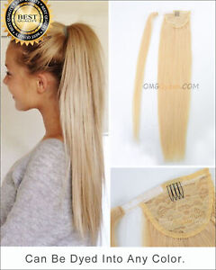 Clip In Wrap Around Ponytail As Human Hair Extension Piece Traceless Natural