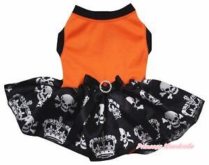 Halloween Plain Orange Top Black Crown Skull Tutu Pet Dog Dress Puppy Clothes
