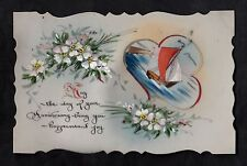 C1916 French plastic card - Sailing boats/ flowers 'Happiness & joy'