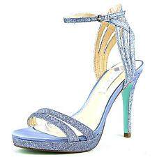Betsey Johnson Slingbacks 7 Open Toe 3in high Heel Glitter Blue Formal Wedding
