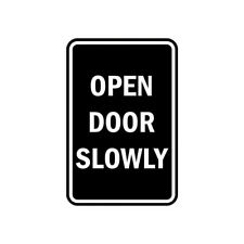 Signs ByLita Portrait Round Open Door Slowly Sign (Black) - Small 4x6""