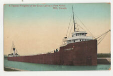 Typical Freighter Of The Great Lakes Port Arthur Canada Vintage Postcard US045