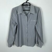 Chico's Blouse Womens Size 3 Gray White Striped Button Down Long Sleeve Top
