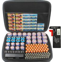 Large battery organizer storage case with digital battery tester/checker