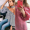 Women Sexy Off The Shoulder Loose Baggy Long Sleeve T-Shirt Cropped Tops Blouse