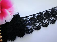 Black Venise  Lace Trim with beautiful design  - selling by the yard