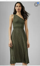 NWT Ted Baker Green Khaki Miriom Knitted Pleated One Shoulder Dress Size 5