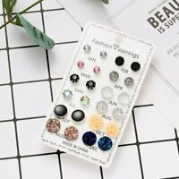 12 Pairs Set Flower Round Crystal Ball Earrings Ear Stud 12 Months Lady Gifts