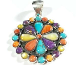 """925 STERLING FLOWER CLUSTER SPINY OYSTER MOP TURQUOISE 1 3/4"""" x 1 1/4"""" PENDANT"""