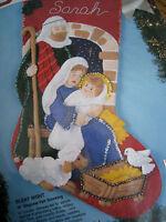 Christmas Bucilla STOCKING FELT Applique Kit,SILENT NIGHT,Family,Jesus,#83007