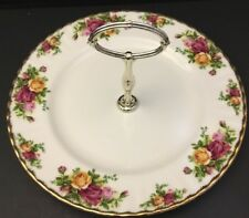 ROYAL ALBERT OLD COUNTRY ROSES ENGLAND 1 TIER CAKE~SANDWICH~DESSERT~PLATE~Gold
