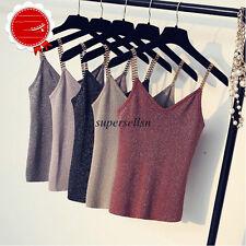 Women Summer Knit Slim Sleeveless V Neck Tank Tops Vest T Shirt Blouse Gray M