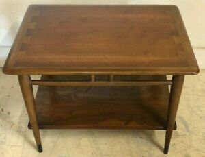 Vintage Mid Century Modern Lane Acclaim Walnut Two Tier Side End Lamp Table