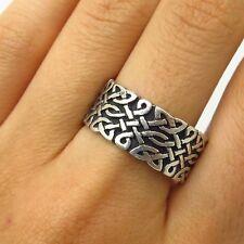 Vtg 925 Sterling Silver Celtic / Viking Design Wide Men's Band Ring Size 10 1/4