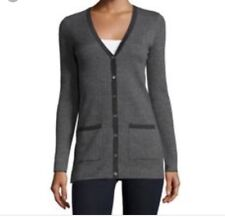 MICHAEL KORS COLLECTION herringbone tweed 100% Cashmere Cardigan Size M Charcoal