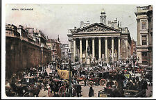 Royal Exchange & Bank PPC Art PPC 1905 Colyton PMK, Horse Drawn Traffic Jam