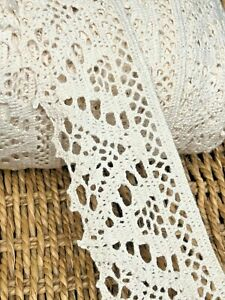 "laverslace Ecru Cream Pale Beige Vintage Cotton Cluny Crochet Lace Trim 2""/5cm"