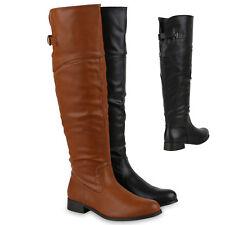 Bequeme Damen Stiefel Reiterstiefel Langschaft Boots Leder-Optik 813859 Schuhe