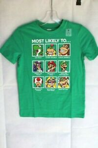 "Old Navy Boys' Size M (8) Super Mario Green Tee - ""MOST LIKELY TO ..."" Graphic"