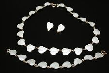 H.C.ØSTREM VINTAGE SILVER 925S ENAMEL LEAF NECKLACE BRACELET & EARRINGS SET