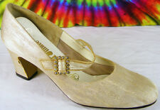 6-6.5 vintage 60s muted gold fabric rhinestone buckle mary-jane pumps shoes