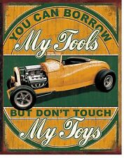 "You Can Borrow My Tools Don'T Touch My Toys V8 Muscle Car 12.5"" X16"" Metal Sign"