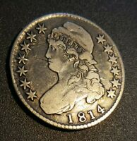1814 Capped Bust Half Dollar, Better, Early Date, Lettered Edge Silver 50C Coin