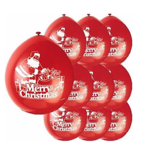 Merry Christmas Red 9'' Latex Balloons - Pack of 10