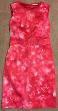 T Tahari 4 Shift Sleeveless Pink White Tie Dye Look Raw Neckline Hem