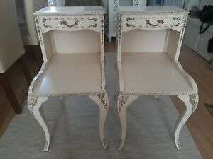 Pair of Vintage Bedside Tables Ornamented and Stylish